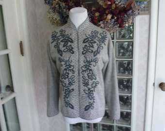 Vintage 60s 1960s Gray Lambwool Sweater Beaded Butterfly Nehru Lined Long Sleeve M Medium 38