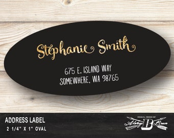 Oval Address Label | Custom Address Label | GOLD Return Address Label | Beautiful Return Address Label | Glitter Labels