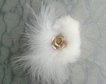 White Hair Clip / Brooch pin Dual Use Marabou feathers w upcycled Chinchilla Fur accented w Gold Flower Rose - Wedding Bride Bridal Festival