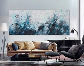 Large Abstract seascape painting horizontal blue grey white minimalist 'the beautiful unknown II' modern art wall decor