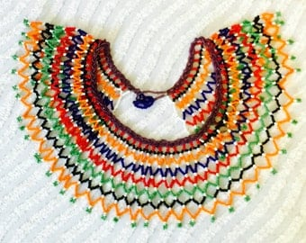 ethnic beaded collar necklace vintage excellent