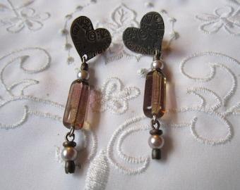 Vintage Silver Tone Heart and Smokey Glass Beaded Dangle Pierced Earrings