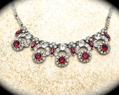 HOLD...Rhinestone Vintage Necklace-Unsigned Designer Vintage Necklace Pendant- Art Deco Red Rhinestone Flower- Victorian Necklace #etsygifts