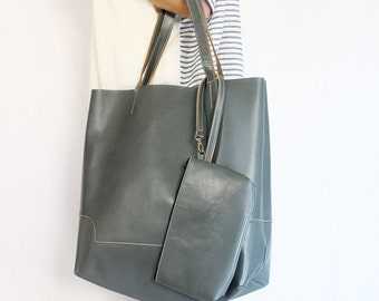 Leather Tote Bag / Handbag / with Samll Pouch - Gray