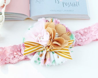 Hello, Lovely- mustard pink green floral ruffle withpink chiffon flower headband bow