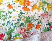 Vintage King Size Flat Sheet Floral Pattern Poppies in Yellow, Orange and Peach