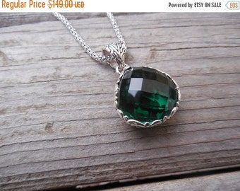 ON SALE Beautiful deep green amethyst necklace handmade in sterling silver