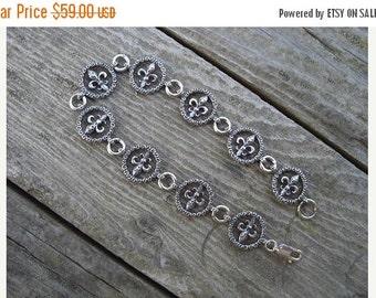 """ON SALE Sterling silver """"Fleurs de lis"""" bracelet"""