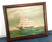 Vintage Ship Painting, Vintage Painting, Vintage Boat Painting, Framed Ship Painting, Signed Ship Painting, The Potosi