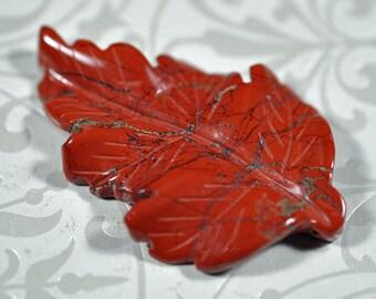 Red poppy jasper carved leaf, 50mm, #813