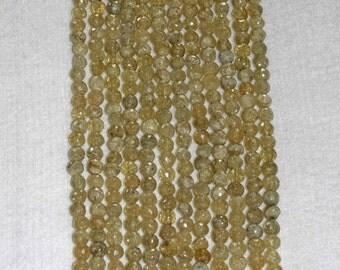 Citrine, Citrine Druzy, Citrine Bead, Faceted Bead, Natural Stone, Gold Citrine, Semi Precious, Strand, 4.5mm