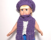 Purple Doll Hat and Scarf, 18 Inch Doll Slouch Hat with Scarf, Crocheted Doll Hat, Purple Doll Hat, Doll Hat and Scarf, Doll Scarf, Doll Hat
