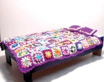 18 Inch Doll Mini Granny Square Blanket, Collector's Blanket, High Quality, Heirloom Quality Doll Collectors Blanket