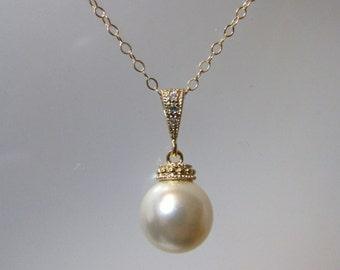 Swarovski Crystal Pearl Necklace, Pearl Necklace, Pearl Drop, Pearl Pendant, Bridesmaid, Bride, Wedding, Gold, Pearl, Pendant, Swarovski