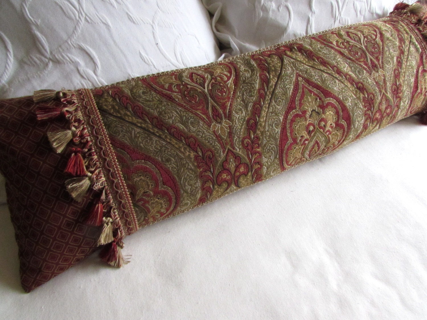 Extra long decorative bolster pillow 11x38 includes insert for Long throw pillows