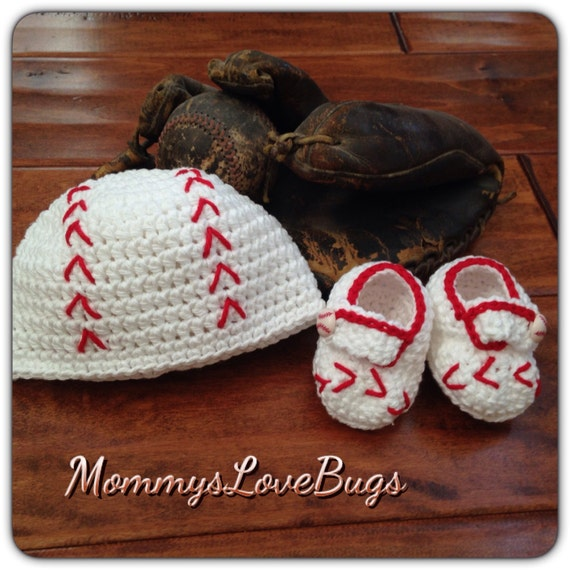 Baseball Crochet Beanie and Booties Set - Newborn through 24 Month Sizes