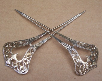 Balinese matched pair silver tone metal hair pick decorative comb hair fork hair pin hair jewelry headdress (ACR)