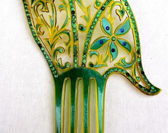 Art deco hair comb green celluloid Spanish comb hair accessory headpiece headdress decorative comb
