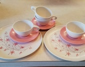 2 place settings Holiday 1950s pink floral melamine dinnerware by Kenro PLUS extra pieces