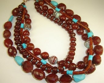 Carnelian Cluster Collection Necklace