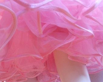Happy Bubbles - Vintage 1950s Bubblegum Pink Double Plouf Tea Length Crinoline  Petticoat - Large