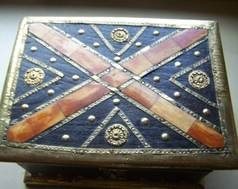 Hand Crafted Inlaid Wood Gold Metal Box Gold Gilt