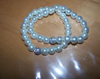 Two Silver Glass Faux Pearl Pave Rhinestone Bracelets