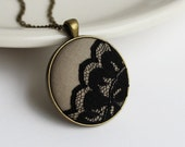 Beige and Black Necklace, Taupe and Black Lace Jewelry, Black Lace Pendant, Round, Scalloped, Neutrals Unique Boho Jewelry for Women