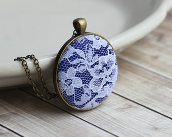 Cobalt Blue Necklace, Blue and White Wedding, Bridesmaid Jewelry, Lace, Anniversary Gift