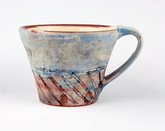 Large Blue Mug with Red Diagonal Stripes