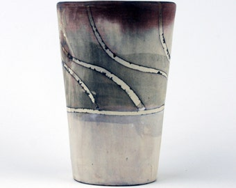 Tall Cup with White Swirling Stripes