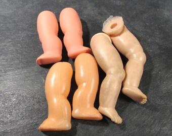 Doll Legs VINTAGE Plastic Rubber Doll LEGS Three (3) Pairs Doll Legs Naked Plastic Rubber Doll Legs Vintage Body Parts Supplies (N195)