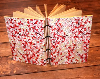 Cherry Blossom Journal, Wedding Guest book, Unique coptic bound Book, First Anniversary Gift, Teen, gifts for her
