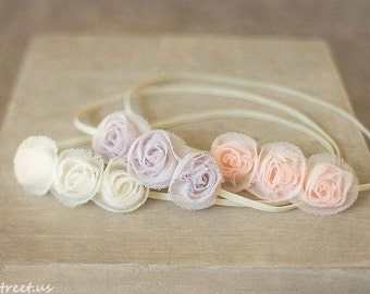 Three Baby Headbands, Light Pink Rose Newborn Headband, Ivory, Newborn Props, Triple Flower Headband, RTS Props, Peach Pink Headband, Prop