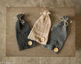 Baby Button Hat, Baby Hat, Baby Boy Hat, Beanie, Newborn Hat, Gray Hat, Tan Natural, Baby Photo Prop, Newborn Props, Baby Props, RTS