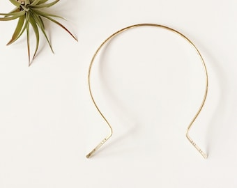 Gold Choker Collar Necklace Neck Cuff / Minimalist Brass Wire Jewelry