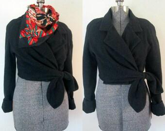 Gray Wool Wrap Bomber Jacket 1980s Wraparound Sinequanone Paris