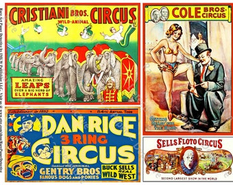 Retro Circus Posters - Printed Scrapbook Animals, Elephant ClipArt, Carnival Poster, Clown Collage Clip Art, Circus Art Old Show Poster, 394