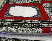 CIJ SALE Snowflakes Lap Quilt Quilted Red Black White Winter Quiltsy Handmade FREE U.S. Shipping