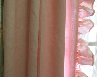 """MADE TO ORDER-3"""" Hemmed Ruffle Linen Drapery Panels-One Pair- Pleated and Lined-Shipped Ready to Hang-Ruffled Linen Drapery Panels"""