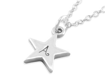 Star Necklace, Sterling Silver, stamped initial, little girls birthday gifts, childrens jewelry, for niece, granddaughter, sisters, AUBREY