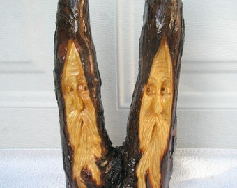 Free Shipping Two Heads Are Better Than One Wood Spirit Santa carving