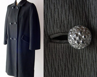 Vintage Black Herbert Bass Forstmann Coat with Faceted Buttons L / XL  large extra large