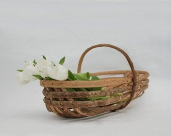 French Farmhouse Basket, Country wedding decor, Vintage flower basket, Laundry decor, Rustic storage.