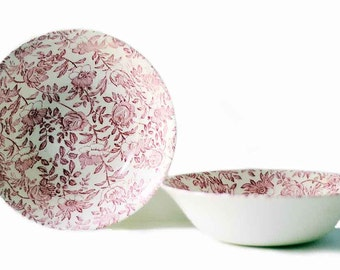 Serving Bowls | Set of Two | Pink Peony | Vintage | Churchill | Red Rose | Servingware | Ceramic