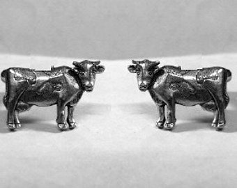 Cow Stud Earrings Sterling Silver Free Domestic Shipping