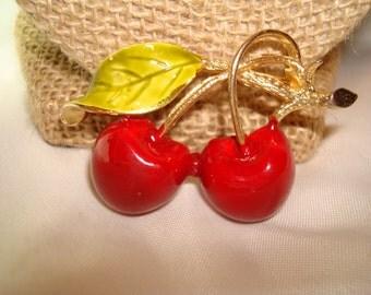 1960s Red Cherries Pin.