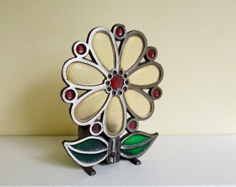 Vintage Metal and Stained Glass Votive, Flower Shaped, Outdoor Candle Holder