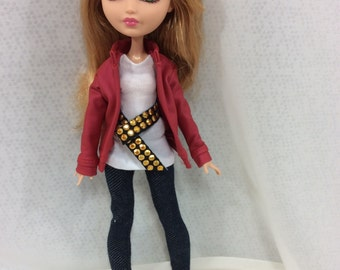 Monster High Doll Clothes Outfit-Denim and Red Pleather jacket-MHD-also fits EAH