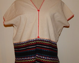 Handmade Hmong Tribal Hill Tribe Embroidered Peasant Top Blouse Bust 40 Size L or Size 14